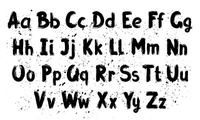 Hand written calligraphy alphabet, black ink brush lettering, abc latin alphabet, grunge font style with ink splashes. Vector