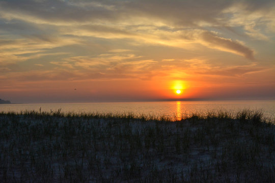 The sunset over Lake Michigan as seen from Sleeping Bear Dunes National Lakeshore