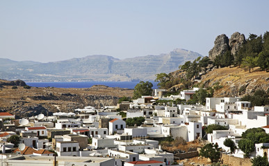 Panoramic view of Lindos. Rhodes island. Greece