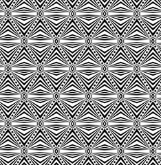 Seamless elaborate  pattern with a five-pointed stars and stripes in a black  - white colors