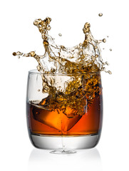 Wall Mural - whiskey with splash on white background