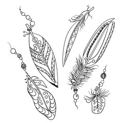 Set of five feathers in tribal american ethnic style in coloring page in vector