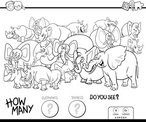 counting elephants and rhinos game color book