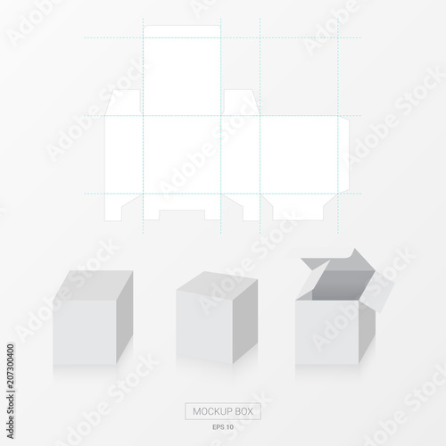 Mockup Box With Die Cut Template Vector Blank Square For Package Design
