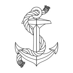 vector vintage sea anchor rope line icon. Nautical simple outline sketch. Black and white linear pop art naval logo pattern. Boat symbol maritime design illustration isolated on background