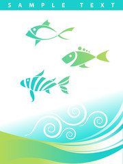 Blue abstract aquatic background with three cool abstract fish. Great as a template
