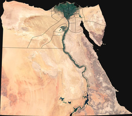 Large (8,3 MP) satellite image of Egypt with internal (governorates) borders. Country photo from space. Isolated imagery of the Arab Republic of Egypt. Elements of this image furnished by NASA.