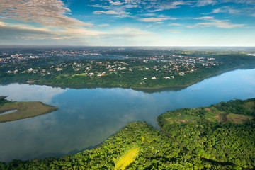 Aerial view of Parana River on the border of Paraguay and Brazil.