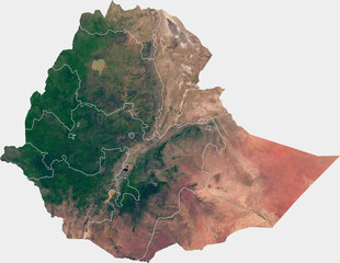 Large (14 MP) satellite image of Ethiopia with inner (regions) borders. Country photo from space. Isolated imagery of Ethiopia. Elements of this image furnished by NASA.