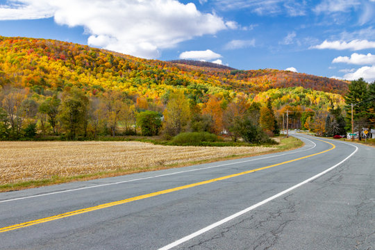 Empty highway road through colorful fall forest landscape in New England