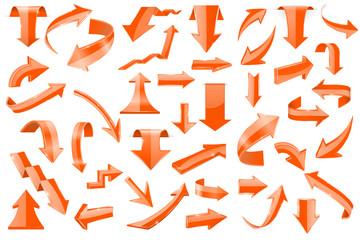 Set of orange 3d arrows. Shiny icons