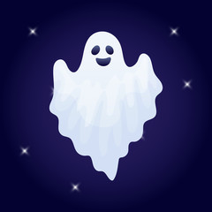 Vector illustration, cartoon Halloween ghost character on a dark background.