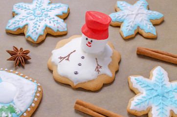 baking of christmas gingerbread like melting snowman and snowflakes