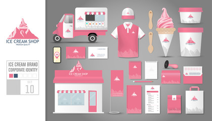 Corporate identity template Set 10. Logo concept for ice cream shop, cafe, restaurant. Realistic mock up template set of shop, car, polo shirt, apron, cap, cup, menu, rubber stamp, coupon, package.