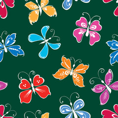 Seamless pattern of decorative butterflies