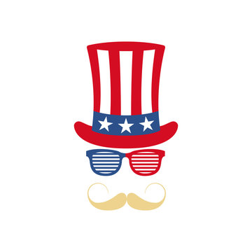 Glasses, mustache and hat of Uncle Sam.  American flag. National holiday in United States of America Independence Day. Vector illustration.