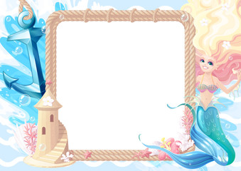 vector Summer maritime collage frame template for photo 02