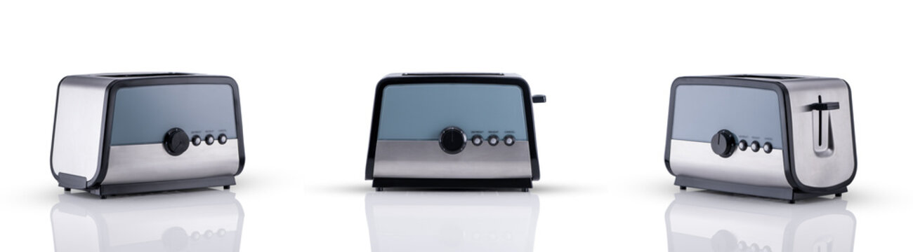 kitchen toaster on a white background with reflection, three angles of view. kitchen accessories