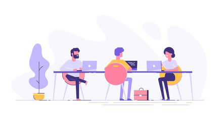 Coworking space with creative people sitting at the table. Business team working together at the big desk using laptops. Flat design style vector illustration.