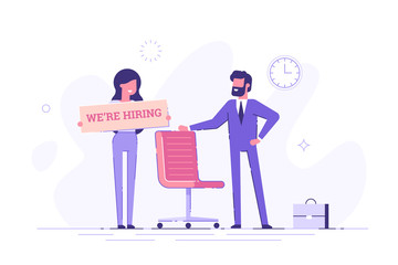 Businessman and woman are hiring new staff. Head hunters. Vacant place in an office. Flat vector illustration.