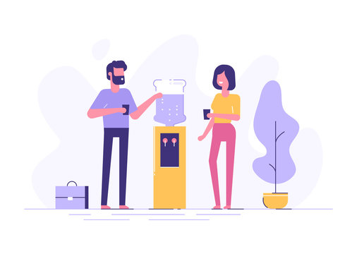 Office cooler chat. Vector flat character design on man and woman talking to each other near office water cooler.