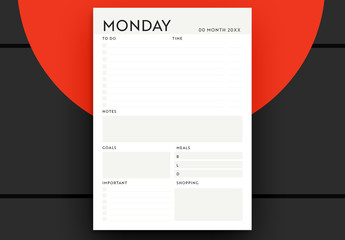 Daily Planner Layout with Minimalist Design