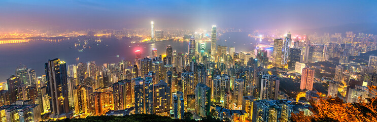 Panorama of Hong Kong Island in the evening, China