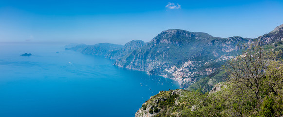 "Panoramic view of Positano town and Amalfi coast  from hiking trail ""Path of the Gods""."