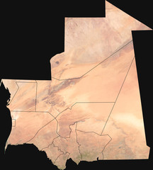 Large (13 MP) satellite image of Mauritania with internal (regions) borders. Country photo from space. Isolated imagery of the Islamic Republic of Mauritania. Elements of this image furnished by NASA.