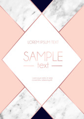Absctract background with marble texture, pink colors and rose gold geometric lines. Modern design template for invitation, wedding, greeting card, motivational poster etc.