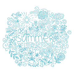Summer postcard. Doodle summer card with floral elements, flowers, sun, curly lines. Vector illustration.