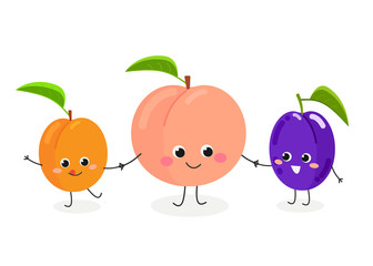 Vector illustration of cute cartoon peach, plum and apricot