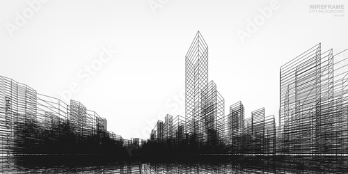 perspective 3d render of building wireframe vector wireframe city