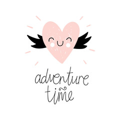 """Adventure time"". Vector illustration with pink heart. Baby print. Cartoon background.."