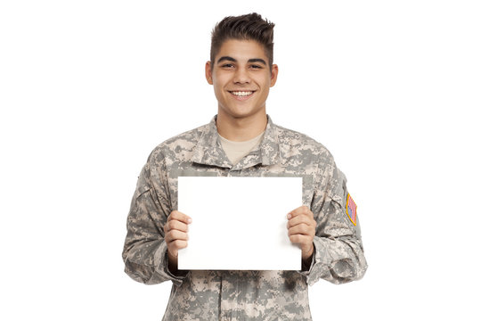 Happy Army Soldier Holding Blank White Sign