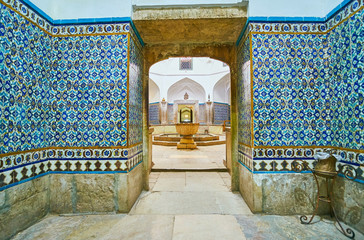 The tiled corridor in Ganjali Khan Bathhouse, Kerman, Iran