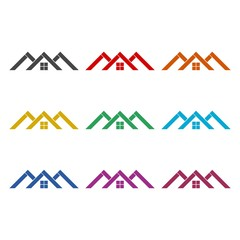 Home roof icon, color icons set