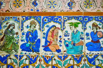Musicians on glazed tiles, Ganjali Khan Bathhouse, Kerman, Iran