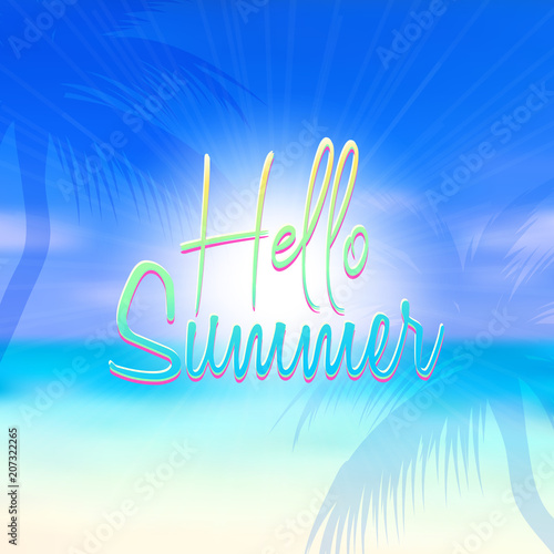 summer themed background with blurred beach scene fotolia com の