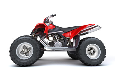 Side view of powerful red ATV quadbike isolated on white background. Perspective. 3D render.
