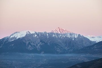 Beautiful pink sunset in the French Alps