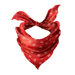 Vector 3d realistic silk red neck scarf. Fabric cloth of dotted neckerchief. Scarlet bandana, outerwear of western cowboy. Unisex accessory isolated on white background
