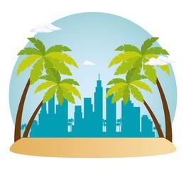 Wall Mural - miami beach cityscape scene vector illustration design
