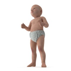 Asian baby boy on white. 3D illustration