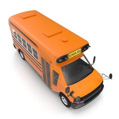 Yellow small school bus on white. 3D illustration