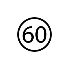 restriction 60 icon. Element of web icons. Premium quality graphic design icon. Signs and symbols collection icon for websites, web design, mobile app