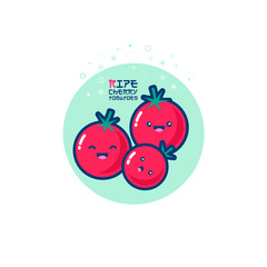 Tomatoes kawaii illustration. Cute red cherry tomatoes with smile. Japanese style emoticons.