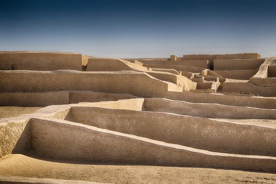 Detailed view of the Nazca ceremonial center of Cahuachi (Peru)