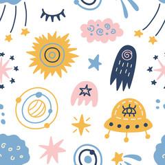 Space Galaxy childish seamless pattern