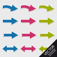 Colorful Arrows - Right And Left Direction - Vector Set - Isolated On Transparent Background